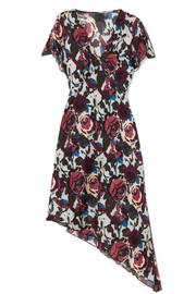 Birds and Roses printed silk-chiffon dress