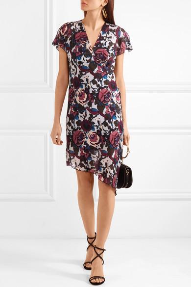 Anna Sui Birds and Roses bedrucktes Kleid aus Seidenchiffon