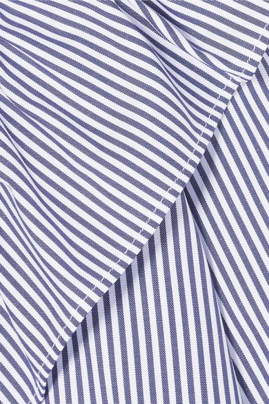 Atlantique Ascoli Dimanche gestreifte Bluse aus Baumwollpopeline mit Rüschen