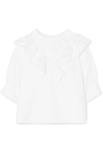 ATLANTIQUE ASCOLI Dimanche Ruffled Cotton-Poplin Blouse in White