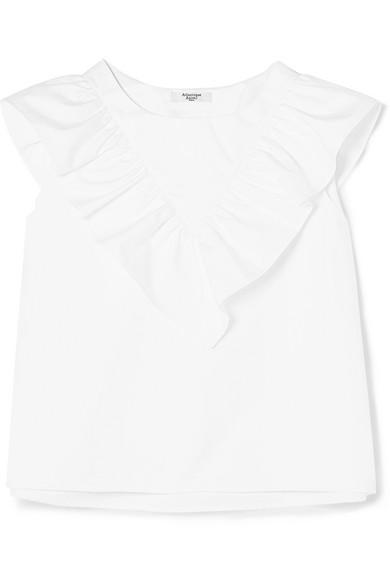 ATLANTIQUE ASCOLI Vendredi Ruffled Cotton-Poplin Top in White
