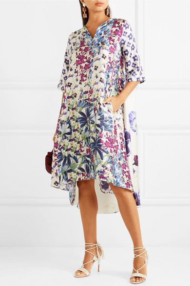 Biyan Arlo floral bedrucktes Kleid aus Seiden-Twill