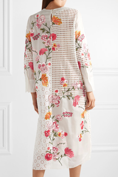 Apolonia Embellished Broderie Anglaise Cotton And Silk-blend Georgette Dress - White Biyan A65oCi