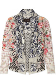 Kaytra embellished broderie anglaise cotton-organza jacket