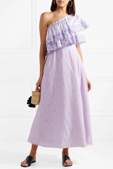 Gül Hürgel Gestreiftes Kleid aus Leinen mit Lochstickerei und asymmetrischer Schulterpartie