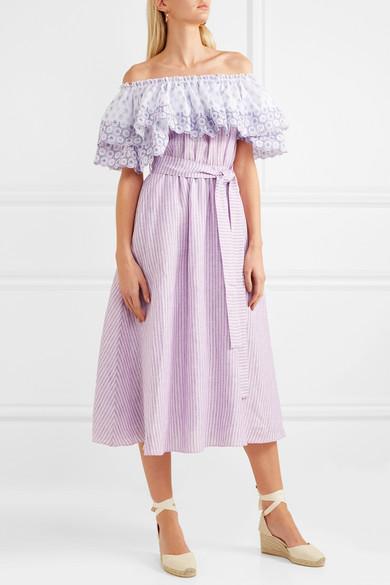 Gül Hürgel Schulterfreies Kleid aus gestreiftem Leinen mit Lochstickerei