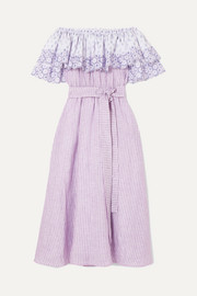 Off-the-shoulder broderie anglaise-trimmed striped linen dress
