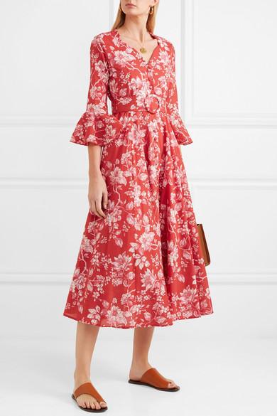 Gül Hürgel Rita Kleid aus floral bedruckter Baumwolle mit Gürtel