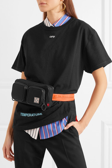 Off-white Belt Pouch Made Of Canvas With Leather Trim