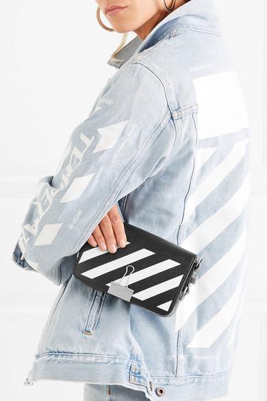 Off-White Mini Schultertasche aus strukturiertem Leder mit Streifen