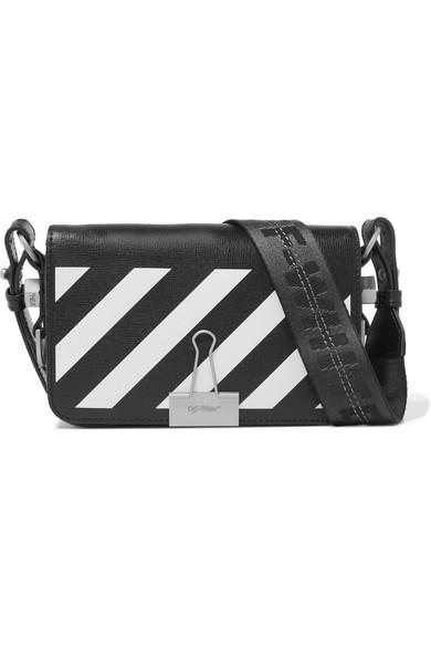 Off-White - Mini Striped Textured-leather Shoulder Bag - Black