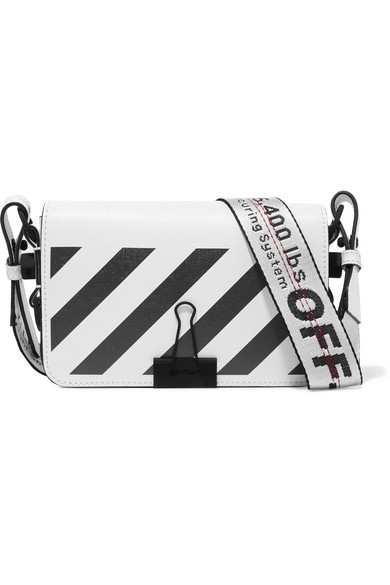 Off-White - Mini Striped Textured-leather Shoulder Bag