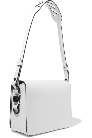 Off White Printed Textured Leather Shoulder Bag