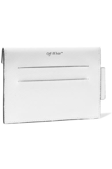 Off-White Bedrucktes Kartenetui aus strukturiertem Leder