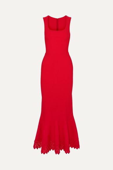 Alaïa Diamond ausgestellte Robe aus Stretch-Strick mit lasergeschnittenen Details