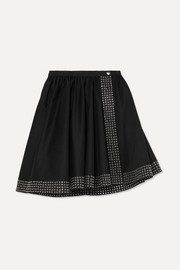 Alaïa Asymmetric eyelet-embellished cotton-gabardine mini skirt