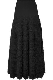 Alaïa Dragonfly ruffled stretch-knit midi skirt