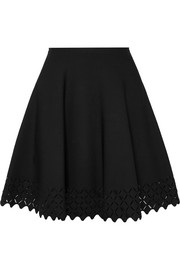 Laser-cut knitted mini skirt
