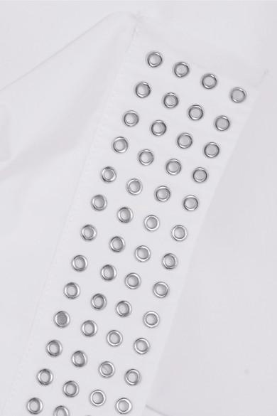 Alaïa Asymmetrisches Oberteil aus Baumwollpopeline mit Ösen