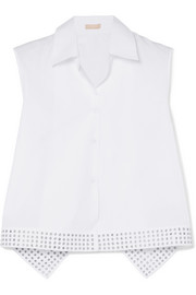 Alaïa Asymmetric eyelet-embellished cotton-poplin top