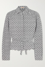 Embroidered faille shirt
