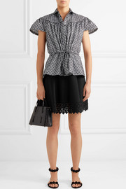 Embroidered jacquard-knit top