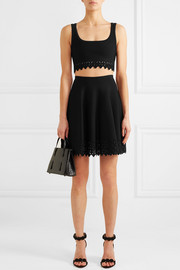 Alaïa Laser-cut cropped knitted top