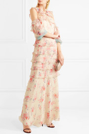 Alisanna cold-shoulder printed crinkled silk-chiffon gown