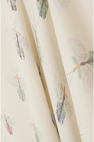 Vilshenko Madeline Robe aus bedrucktem Seidenchiffon in Knitteroptik mit Cut-outs