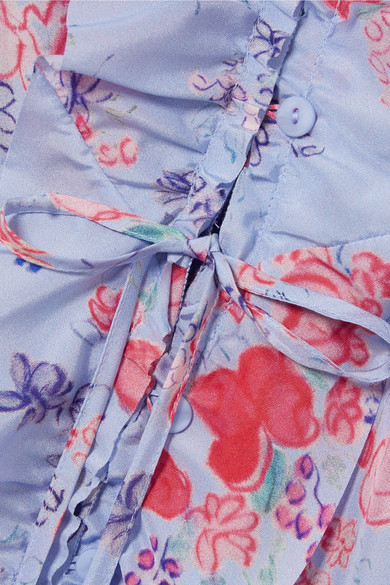 Vilshenko Maddison gerüschtes Midikleid aus Crêpe de Chine aus Seide mit Blumenprint