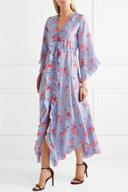 Maddison ruffled floral-print silk crepe de chine midi dress
