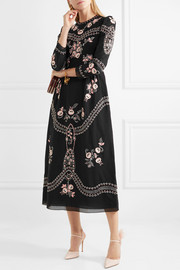 Darcel embroidered cotton-voile midi dress