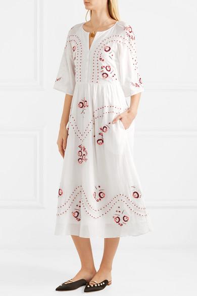 Vilshenko Geneve Ombré Embroidered Midi Dress In Cotton
