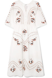 Geneve Ombré embroidered cotton midi dress