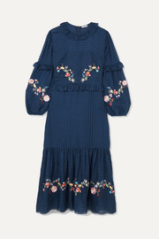 Adeline embroidered cotton and silk-blend maxi dress