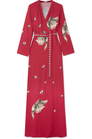 Vilshenko - Claudine Printed Crepe De Chine Wrap Maxi Dress - Red