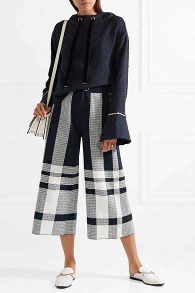 Mother of Pearl Max Kapuzenoberteil aus Baumwoll-Tweed mit Kettenverzierungen
