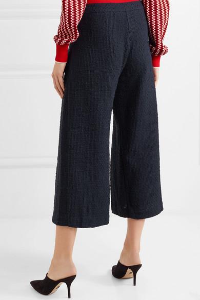 Mother of Pearl Bennie Hose mit weitem Bein aus Baumwoll-Tweed mit Falten und Kunstperlen