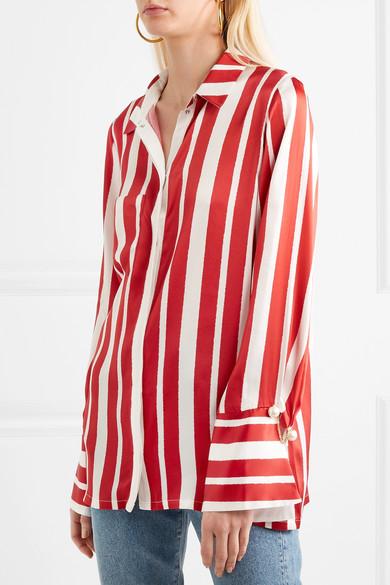 Mother of Pearl Aspen Hemd aus gestreiftem Seidensatin mit Kunstperlen