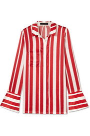 Aspen faux pearl-embellished striped silk-satin shirt