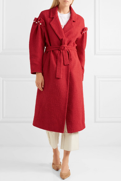 Mother of Pearl Webb Mantel aus Baumwoll-Tweed mit Kunstperlen