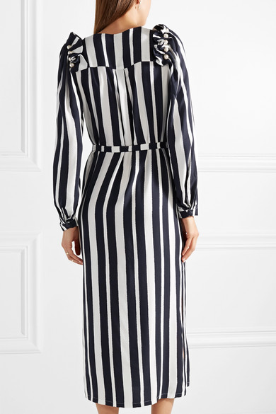 Jada Faux Pearl-embellished Striped Crepe De Chine Midi Dress - Midnight blue Mother Of Pearl SSycRy3g