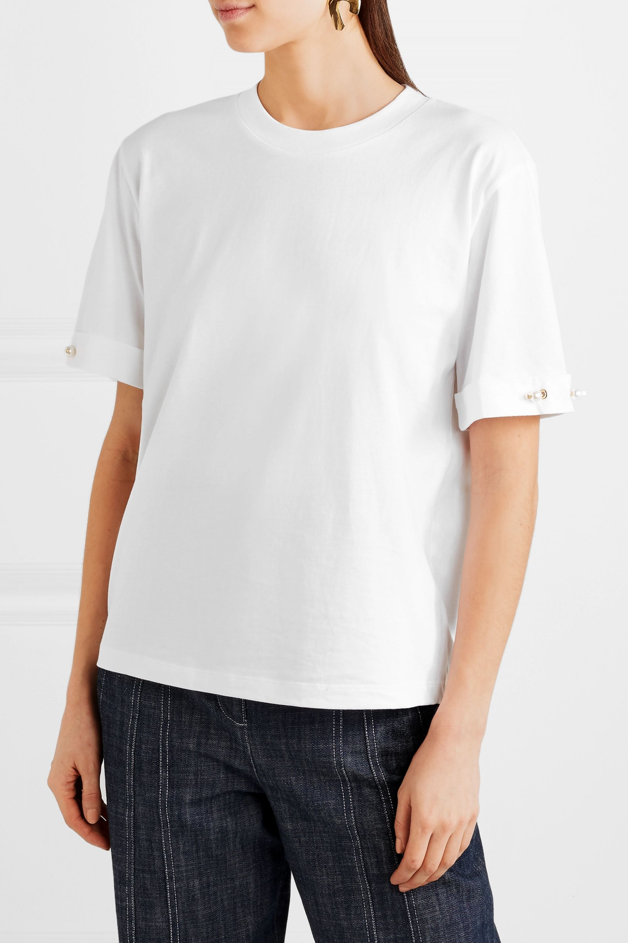 Mother of Pearl Charlie faux pearl-embellished cotton-jersey T-shirt
