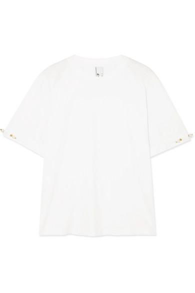 Mother of Pearl Charlie T-Shirt aus Baumwoll-Jersey mit Kunstperlen