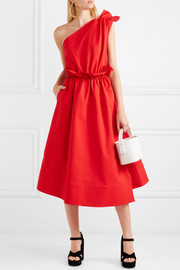 One-shoulder ruffled jersey midi dress