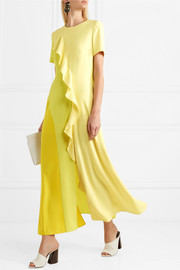 Color-block ruffled chiffon and crepe de chine maxi dress