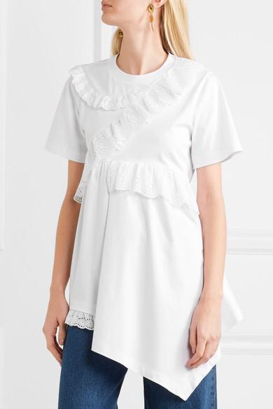 Goen J Asymmetrisches T-Shirt aus Baumwoll-Jersey mit Lochstickerei