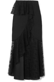Layered cotton-blend lace and crepe midi skirt