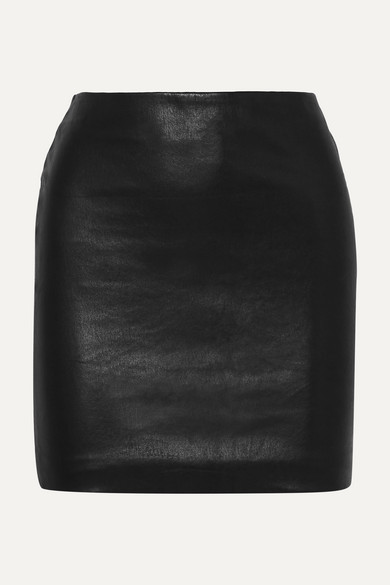 The Row - Loattan Stretch-leather Mini Skirt - Black