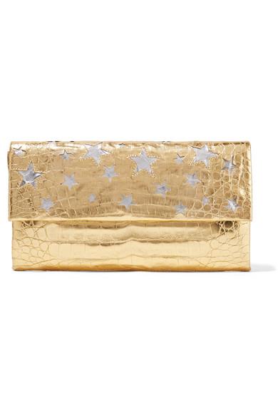 Nancy Gonzalez - Cutout Metallic Crocodile Clutch - Gold